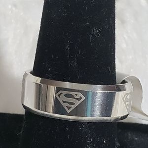 New Stainless Steele Superman Ring Size 11